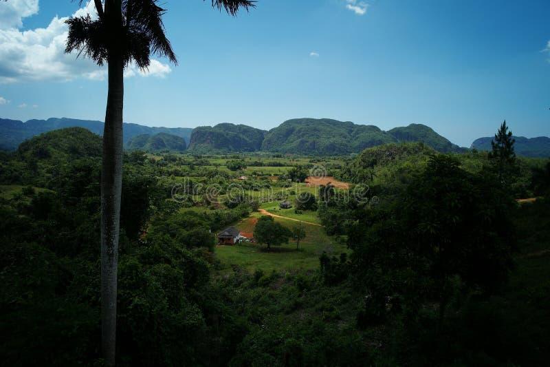Scenisk sikt av den Vinales dalen, Kuba arkivbilder