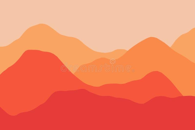 Scenisk sikt av det digitala dimmiga berglandskapet med lager stock illustrationer