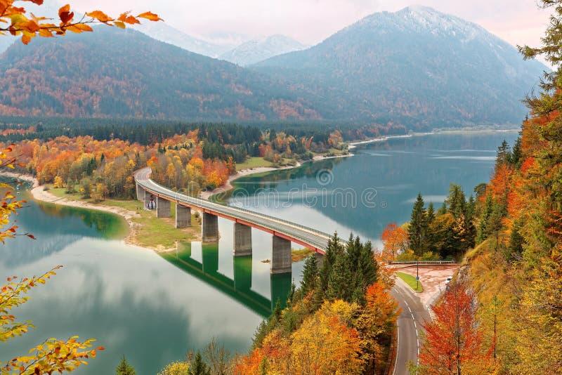 Scenisk sikt av en krökt bro över sjön Sylvenstein med härliga reflexioner på slätt vatten, färgrik lövverk vid lakesiden royaltyfria foton