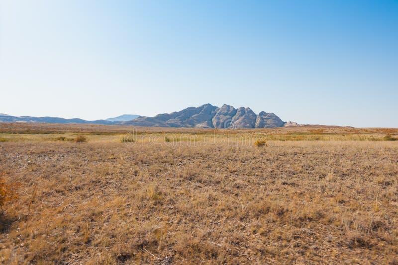 Scenisk sikt av stäppen, bergen och den glesa vegetationen på bakgrunden av blå himmel arkivfoton