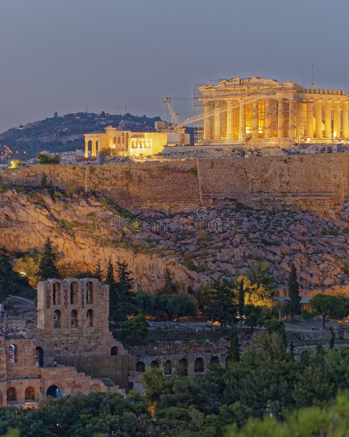 Scenisk sikt för Aten Grekland, för Parthenon och för akropol arkivfoton