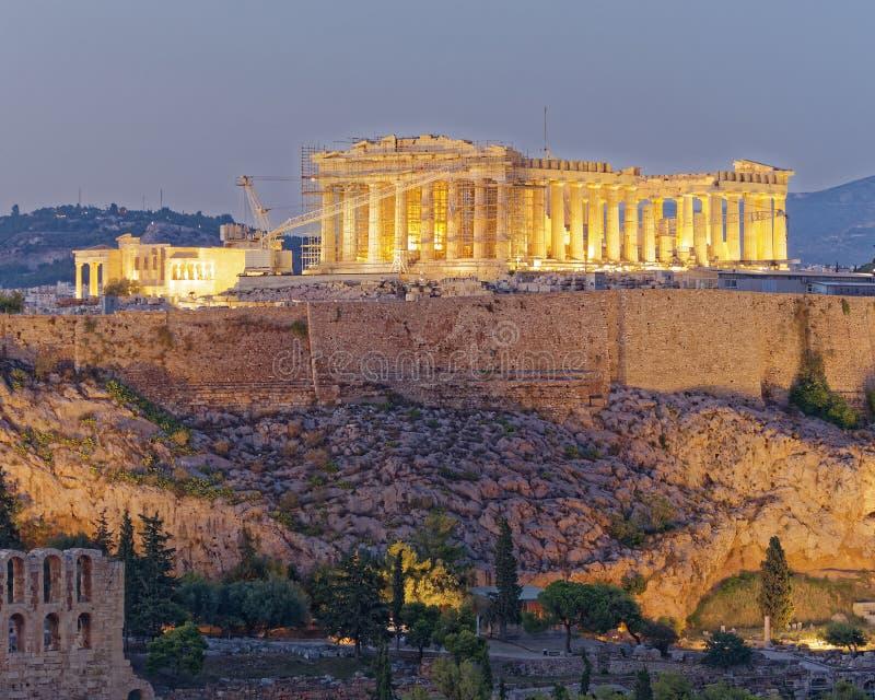 Scenisk sikt för Aten Grekland, för Parthenon och för akropol royaltyfria bilder