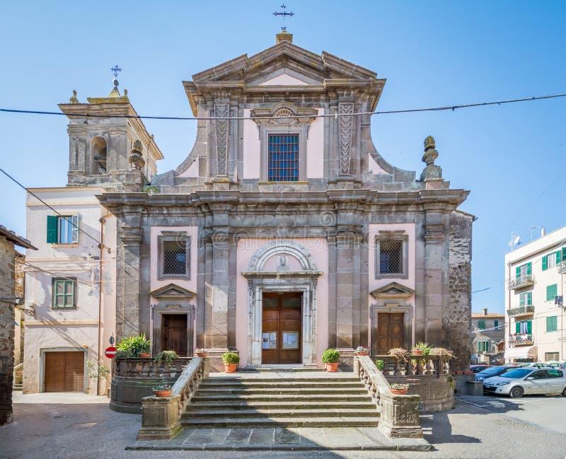 Scenisk sikt i Blera, medeltida by i det Viterbo landskapet, Lazio, centrala Italien fotografering för bildbyråer