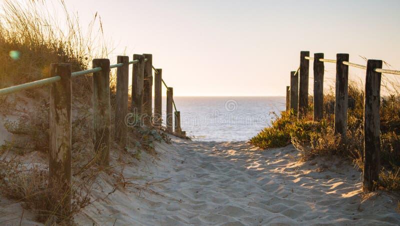 Scenisk solnedg?ng p? stranden med tr?staketet Ing?ng som ska s?ttas p? land i aftonsolljus Tr?kolonner och bana p? sand arkivfoto