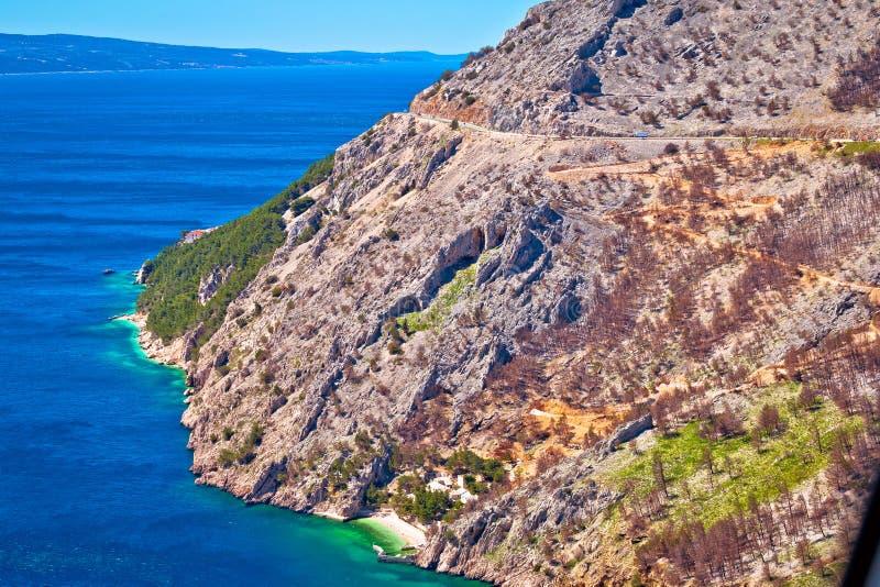 Scenisk väg i sikt för Makarska riviera Biokovo klippastrand royaltyfri bild