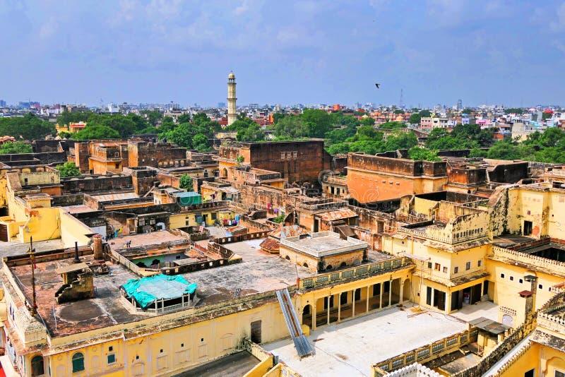 Scenisk vy över Maharaja i Jaipur City Palace Compound royaltyfri foto