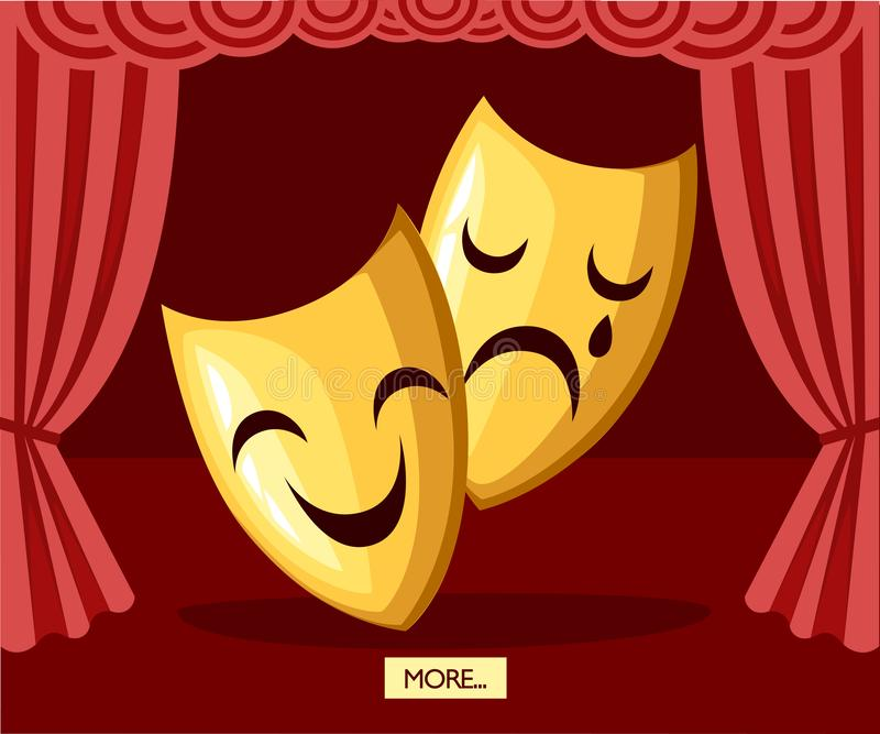 Sceniska maskeringar för komedi och för tragedi Guld- teatermaskeringar Grekisk kultur Plan vektorillustration på etappbakgrund vektor illustrationer
