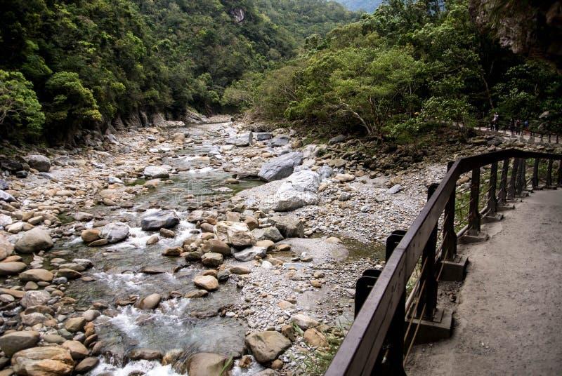 Sceniskt av den Shakadang slingan i den Taroko nationalparken, Taiwan på 30 April 2017 royaltyfria foton