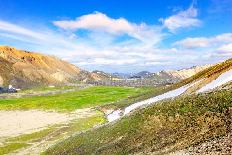 Sceniskt berglandskap i Island Landmannalaugar Fjallabak naturreserv arkivfoton