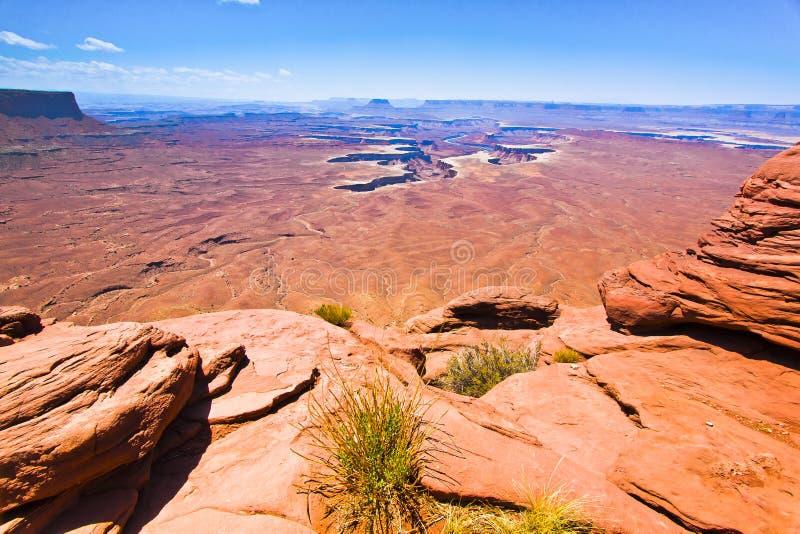 Sceniskt förbise från Canyonlandss ö i himlen, den Moab öknen royaltyfria bilder