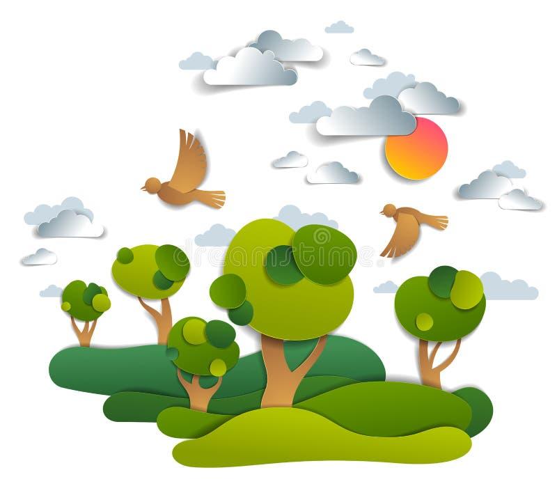 Sceniskt landskap av ängar och träd, molnig himmel med fåglar och solen, sommarfält och grässlättvektorillustration i papper stock illustrationer