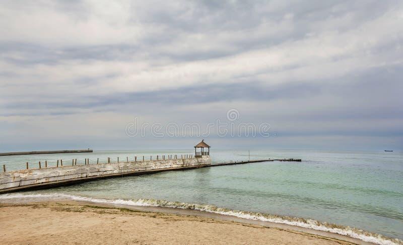 Sceniskt landskap på Black Sea på Balchik, Bulgarien arkivfoton