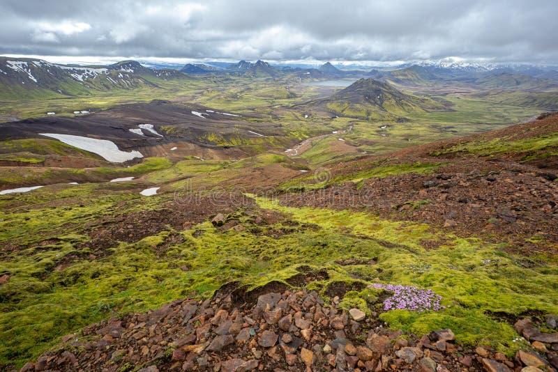 Sceniskt naturlandskap av Landmannalaugar i Island under den Laugavegur treken arkivfoto