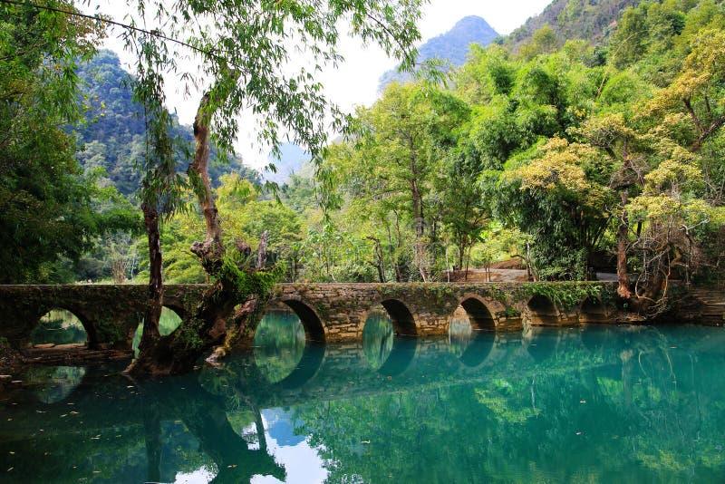 Sceniskt område för Guizhou Libo xiaoqikong arkivbilder