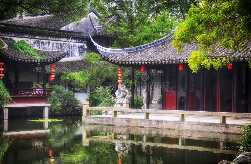 Sceniskt område Kina för Tongli pärlapagod arkivbilder
