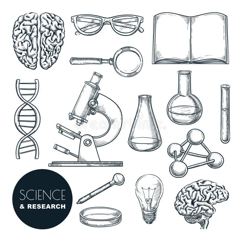 Scenografie per la ricerca scientifica e chimica Icone di istruzione disegnate a mano isolate royalty illustrazione gratis
