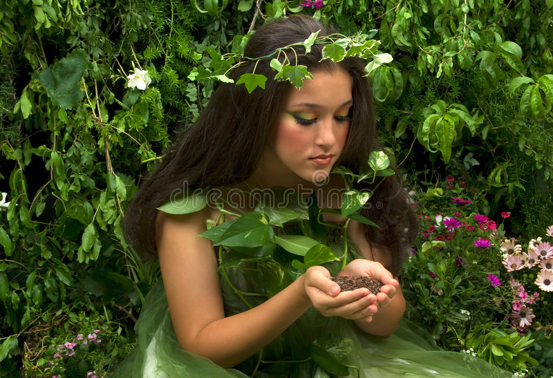 Scent of the Earth. Scent of mother nature is the earth itself. This indoor studio shoot is a compilation of many fresh flowers, grass, tree branches and bushes royalty free stock images