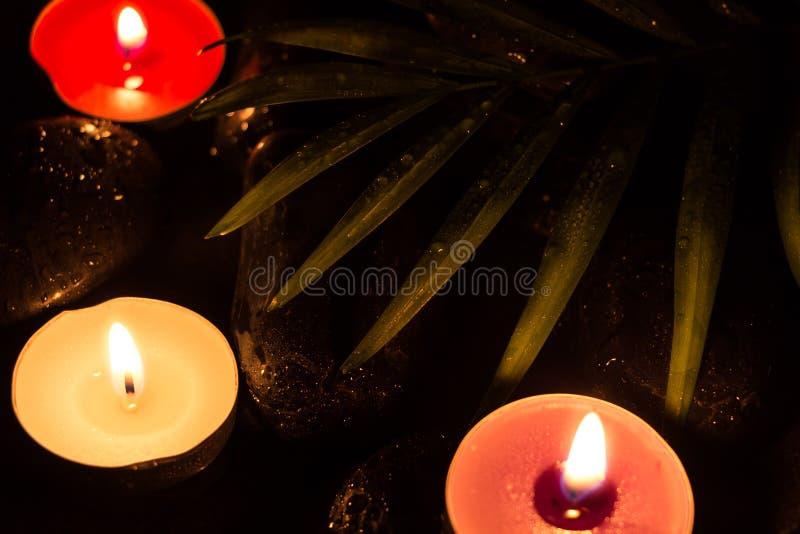 Scent velas iluminadas coloridas em pedras molhadas pretas e na folha verde com gotas, fotografia escura fotos de stock
