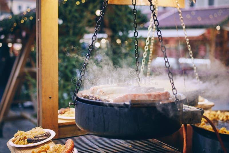 Scent voedsel van de kerstmarkt stock afbeeldingen