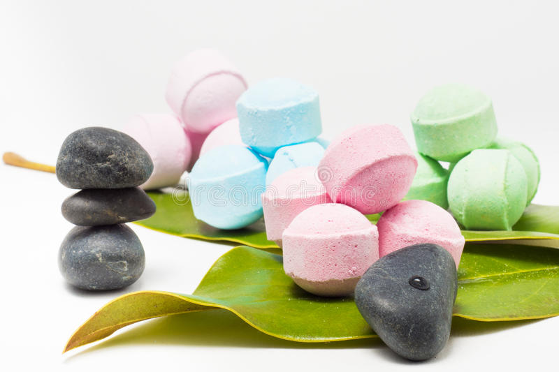Scented bath bombs stock photo