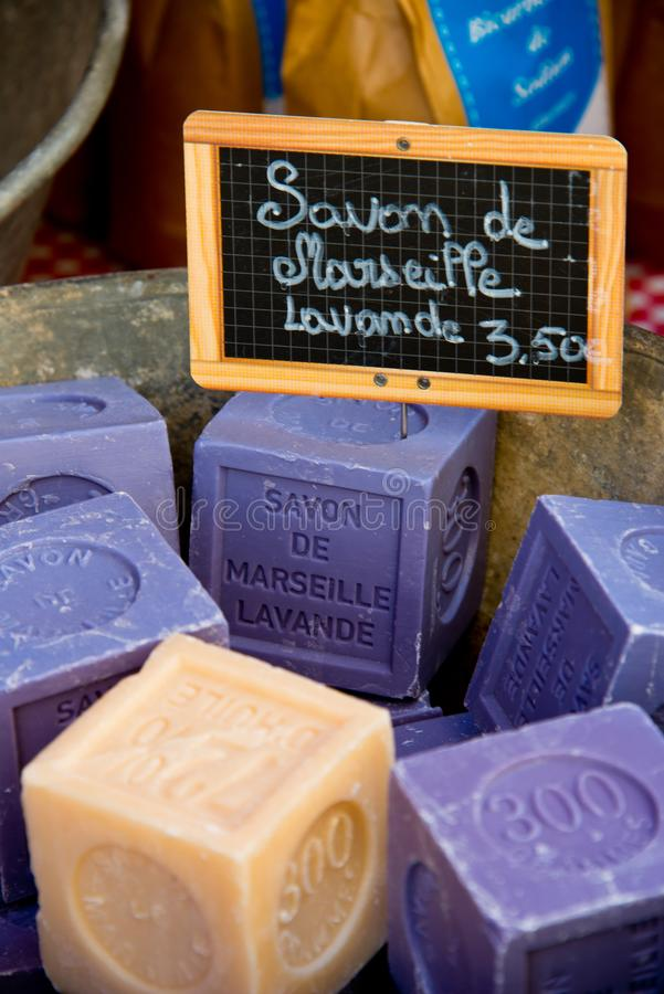 Scented soap at market stall in provence province. Bars of scented soap at market stall in provence province, france stock image