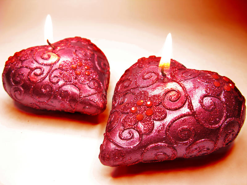 Download Scented Spa Aroma Pink Candles Set Heart Shape Stock Image - Image: 24568671