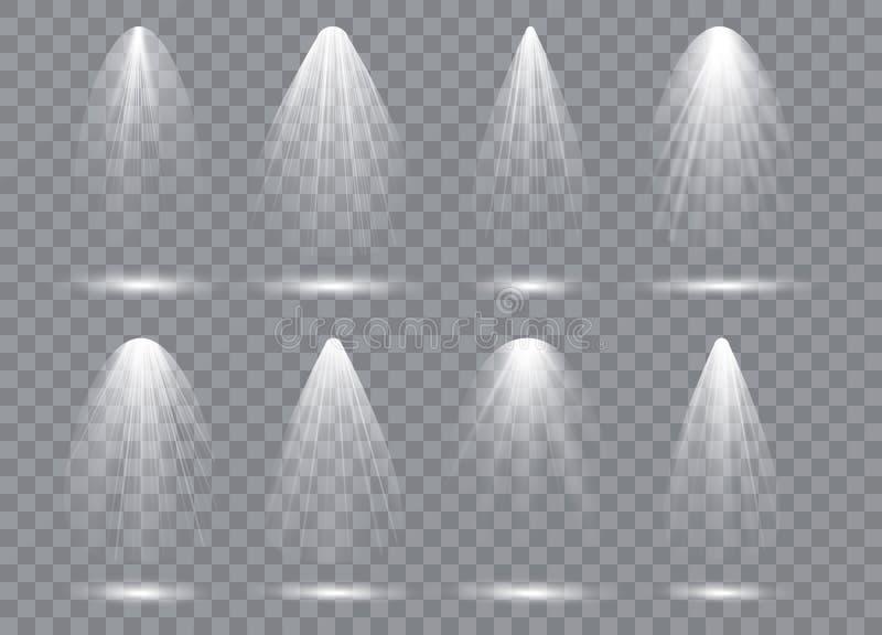 Sceny iluminaci kolekcja, przejrzyści skutki Jaskrawy oświetlenie z światłami reflektorów royalty ilustracja
