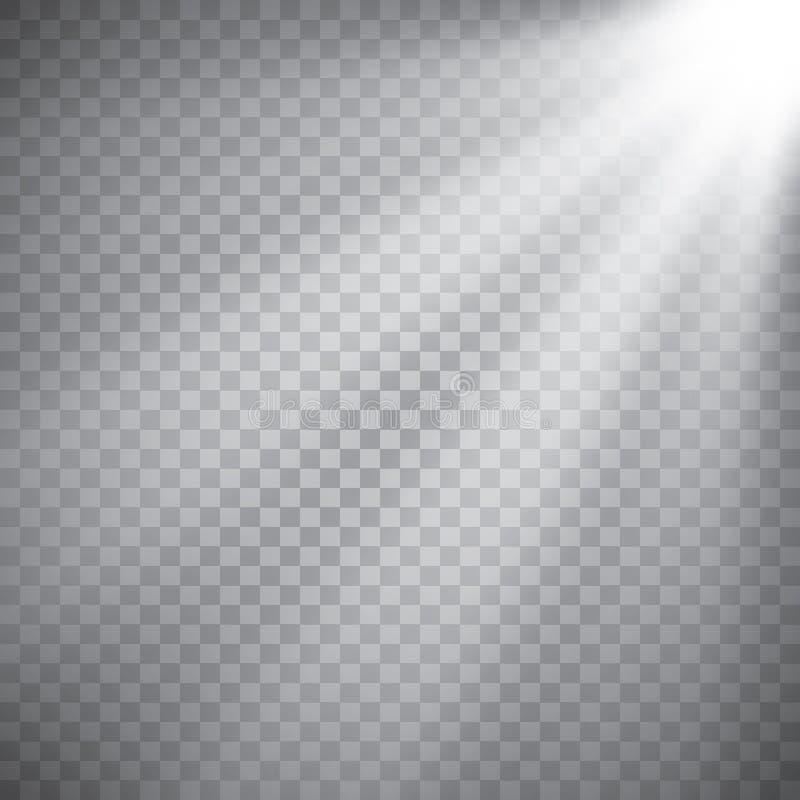Sceny iluminaci kolekcja, przejrzyści skutki Jaskrawy oświetlenie z światłami reflektorów ilustracji