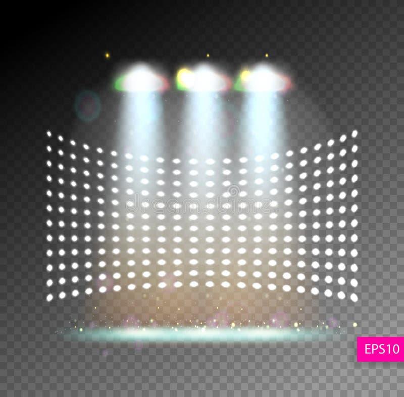 Sceny iluminaci przedstawienie, jaskrawy oświetlenie z światłami reflektorów, floodl royalty ilustracja