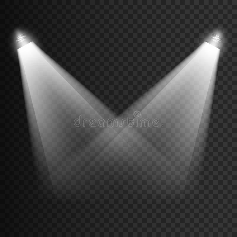 Sceny iluminaci przejrzyści skutki na szkocka krata zmroku tle Jaskrawy oświetlenie z światłami reflektorów wektor ilustracja wektor