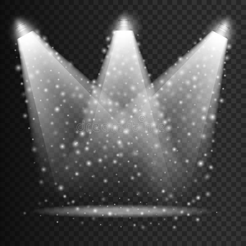 Sceny iluminaci przejrzyści skutki na szkocka krata zmroku tle Jaskrawy oświetlenie z odosobnionymi światłami reflektorów wektor ilustracja wektor