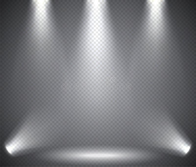 Sceny iluminacja od nad i pod, przejrzyści skutki na szkocka krata zmroku tle ilustracja wektor