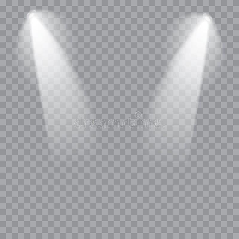 Sceny iluminacja Zimny lekki skutek Scena iluminujący światło reflektorów na przejrzystym tle wektor ilustracja wektor
