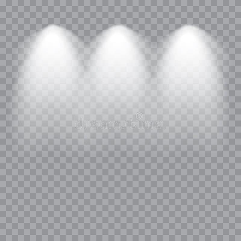 Sceny iluminacja Zimny lekki skutek Scena iluminujący światło reflektorów na przejrzystym tle wektor ilustracji