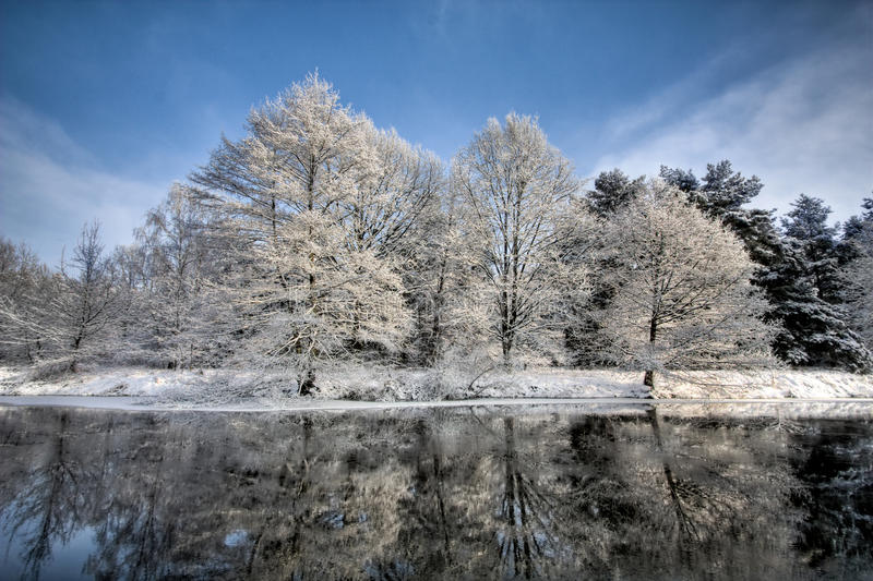 sceny jeziorna zima fotografia stock