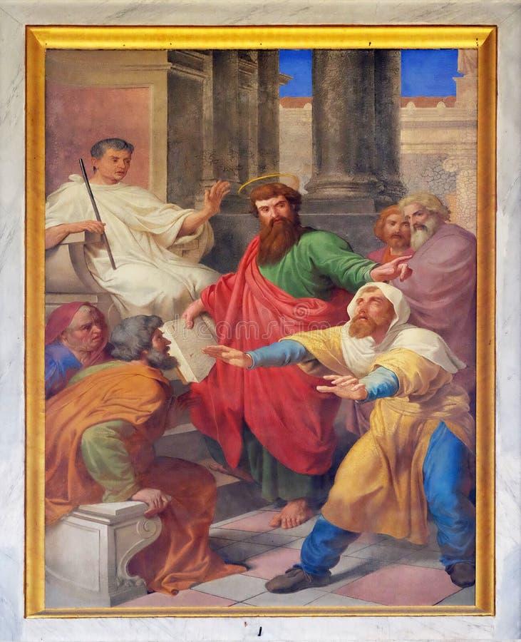 Sceny od życia St Paul: Oślepienie Fałszywy profet obrazy stock