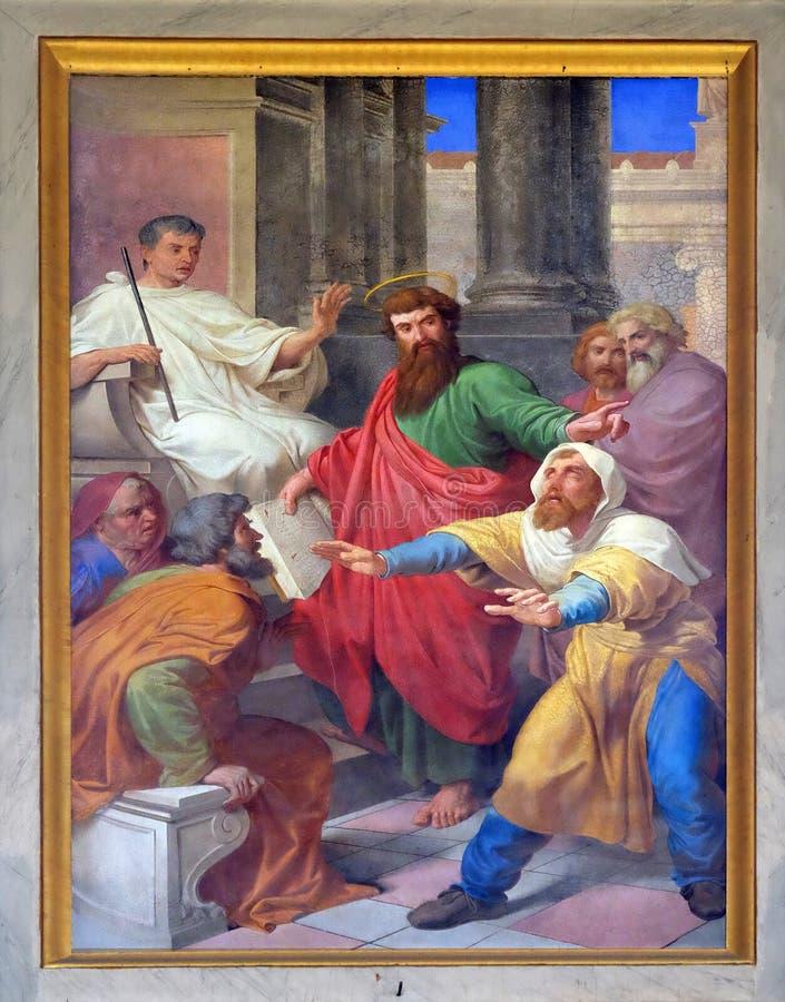 Sceny od życia St Paul: Oślepienie Fałszywy profet fotografia royalty free