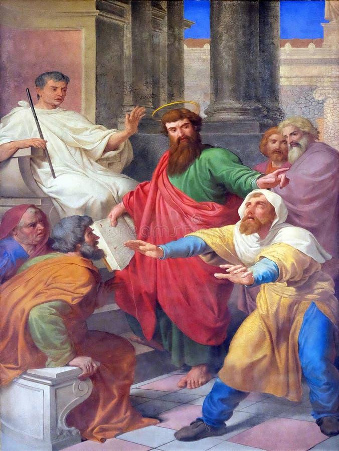 Sceny od życia St Paul: Oślepienie Fałszywy profet obraz stock