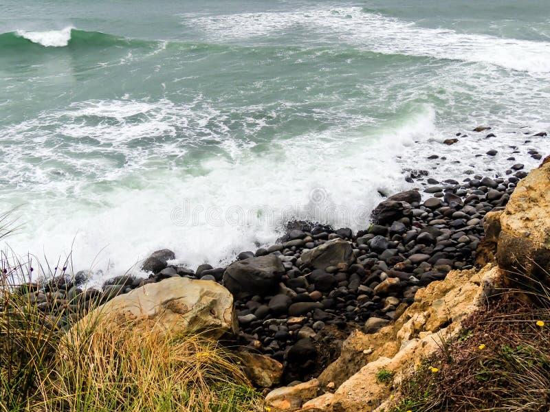 Sceny od Tarnaki plaży, Północna wyspa, Nowa Zelandia zdjęcie royalty free