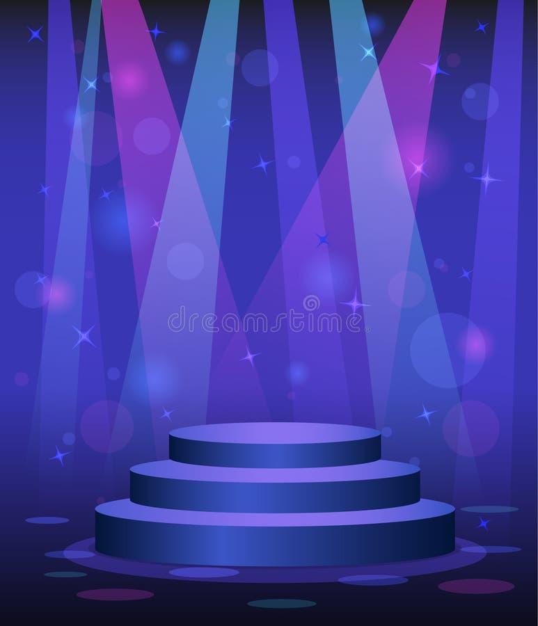 Sceny podium dyskoteki klubu nocnego parkiet taneczny royalty ilustracja