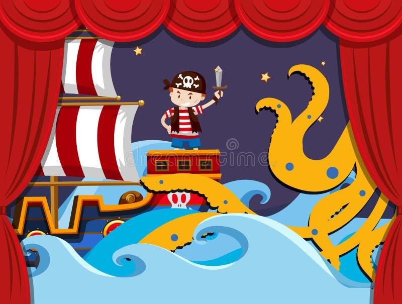 Sceny sztuka z pirata bojem kraken ilustracji