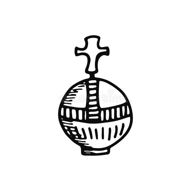 Scepter του εικονιδίου βασιλιάδων απομονωμένος ο σκίτσο Μαύρος αντικειμένου ελεύθερη απεικόνιση δικαιώματος
