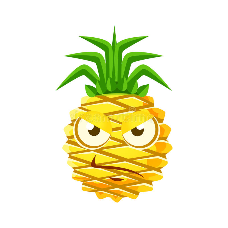 Sceptic pineapple face. Cute cartoon emoji character vector Illustration vector illustration