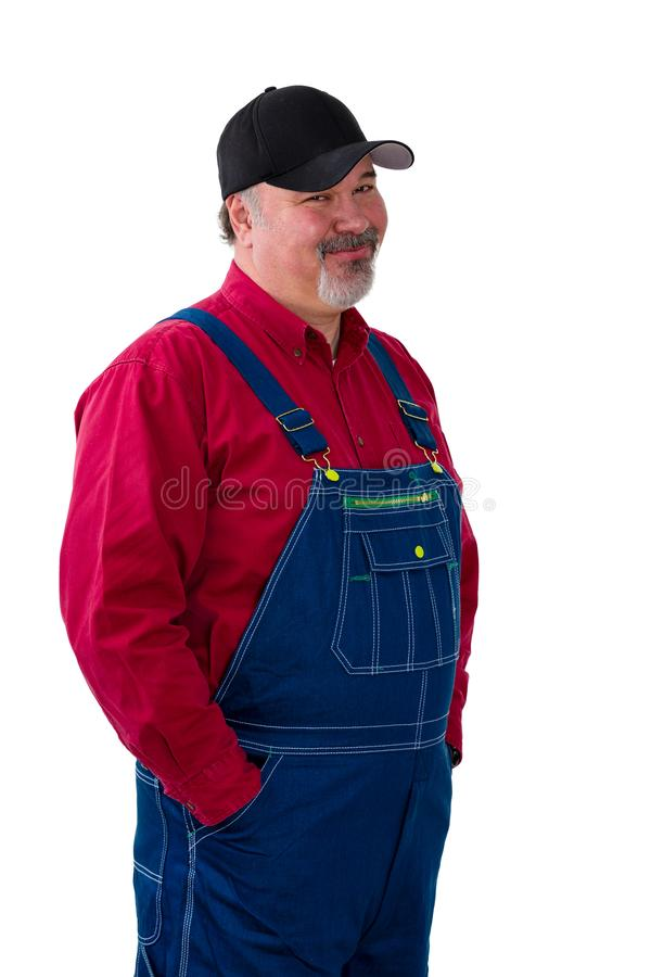 Sceptical farmer or worker looking in disbelief royalty free stock image