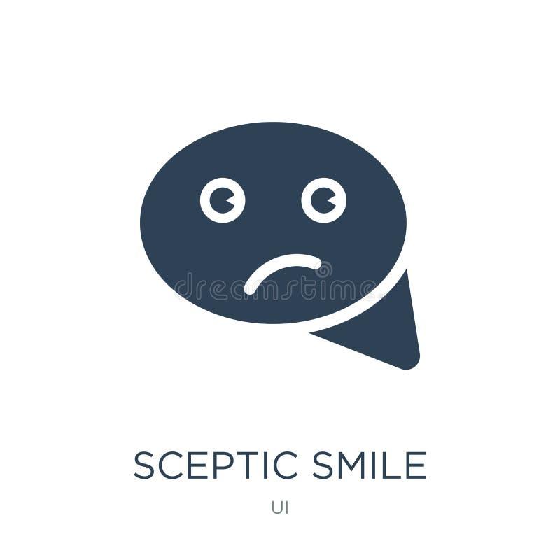 sceptisch glimlachpictogram in in ontwerpstijl sceptisch die glimlachpictogram op witte achtergrond wordt geïsoleerd sceptisch ee vector illustratie