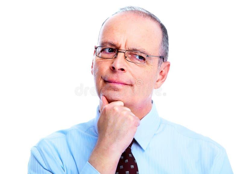 Sceptische zakenman. stock fotografie