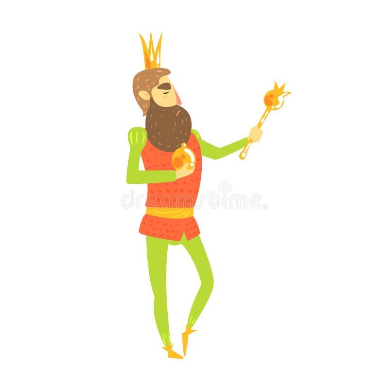 Sceptre du Roi With Orb And se tenant posant pour le caractère puéril de bande dessinée de conte de fées de portrait illustration de vecteur