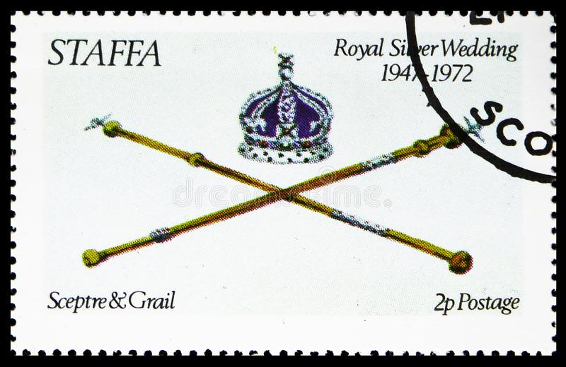 Sceptre et Graal, noces d'argent royales, serie de Staffa Ecosse, vers 1972 images stock