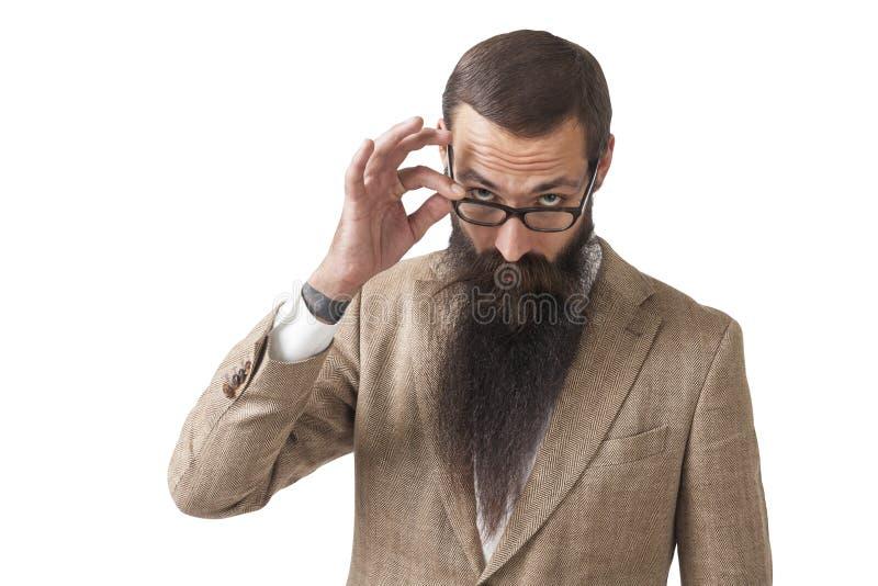Sceptyczny biznesmen z długą brodą, odizolowywającą obraz stock