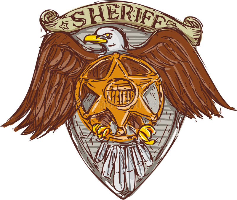 Sceriffo Badge American Eagle Shield Drawing illustrazione vettoriale